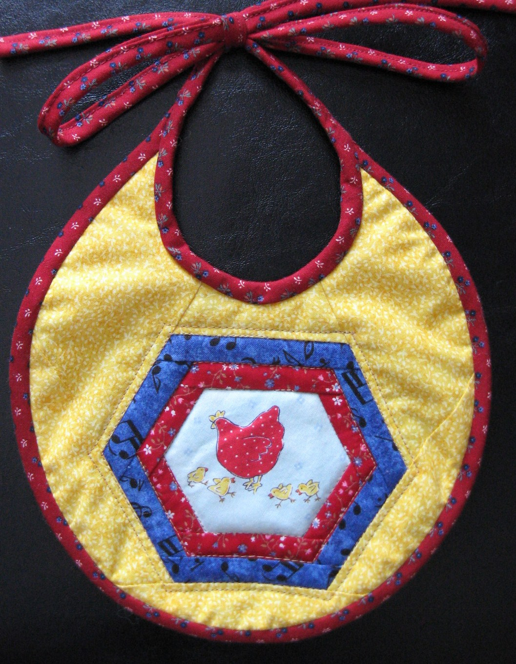 Chicken Dance quilted baby bib