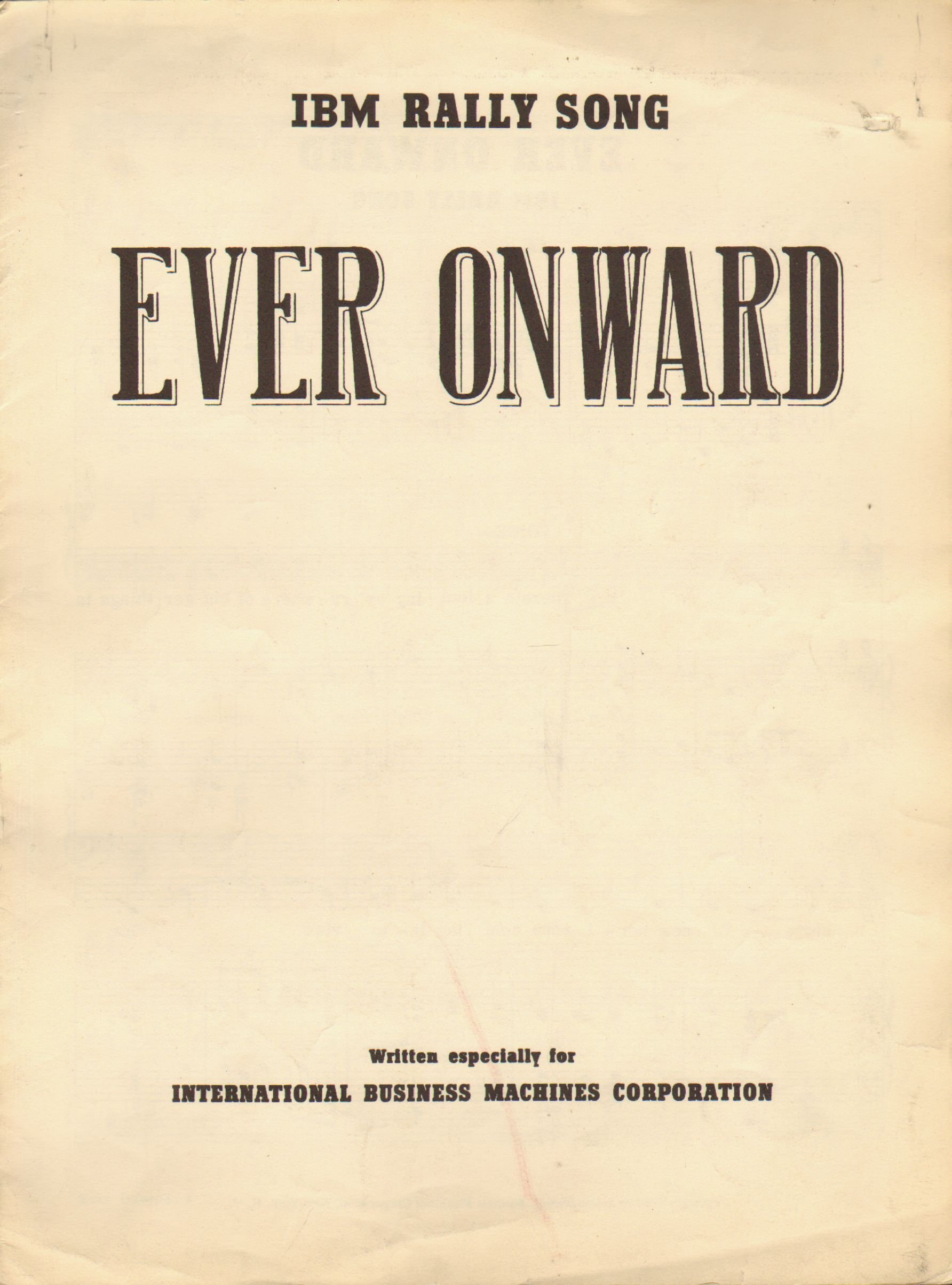 IBM Rally Song Ever Onward (Sheet Music)