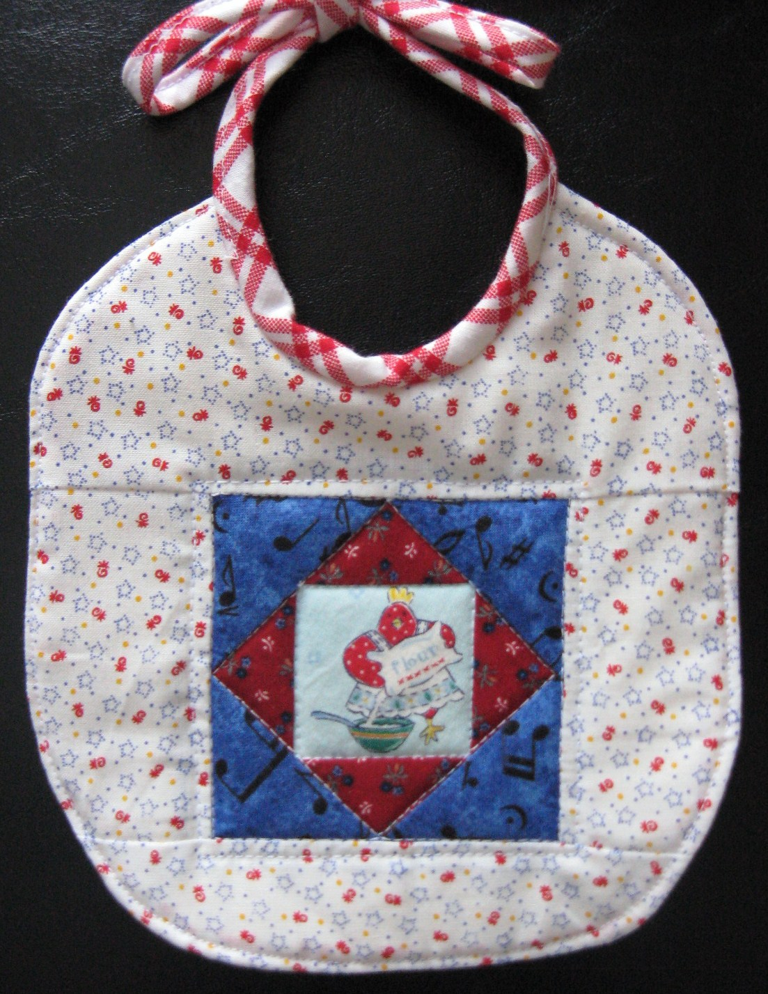 Cooking Chicken quilted baby bib
