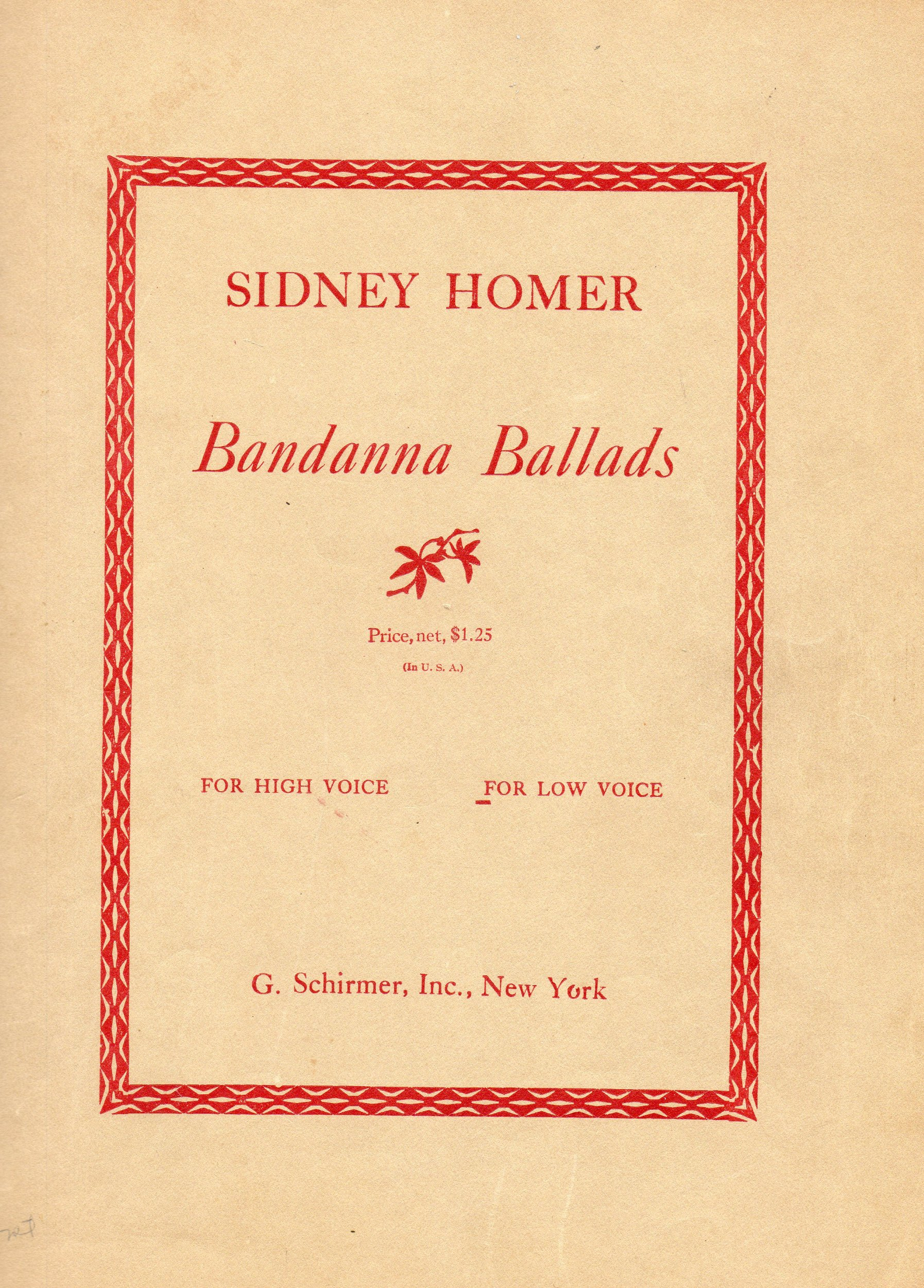 Antique Vocal Sheet Music: BANDANNA BALLADS, Five Songs for LOW